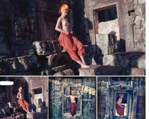 Nude Chinese woman at Angkor